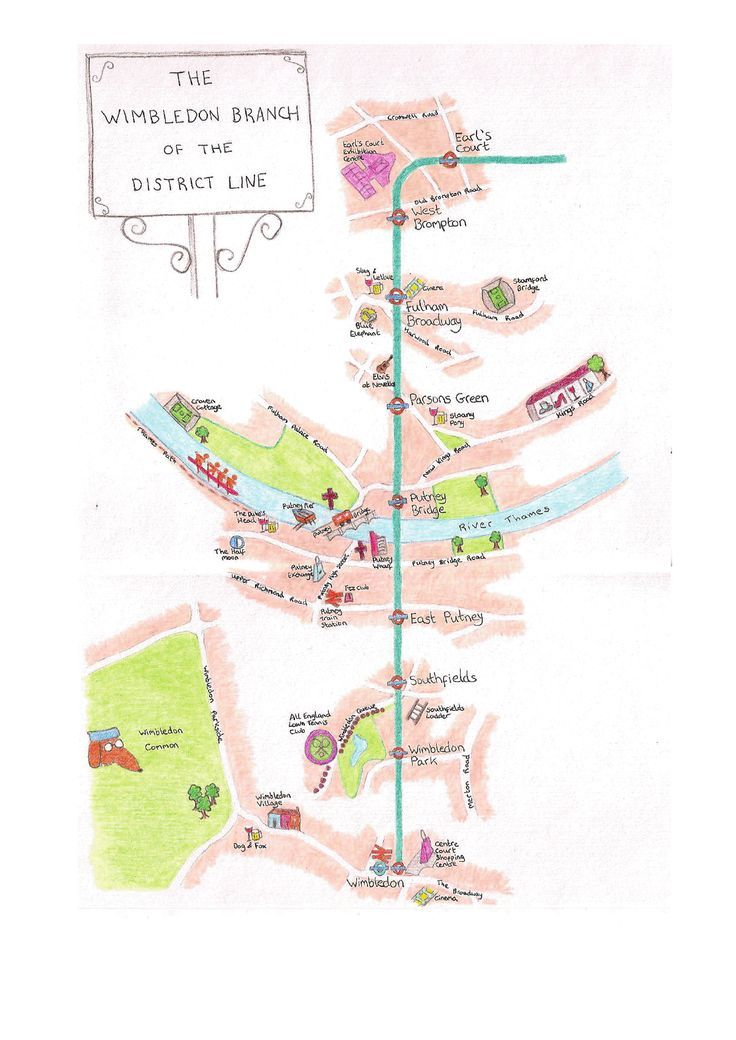 Hand Drawn Maps Of London Wimbledon Branch Of The District Line