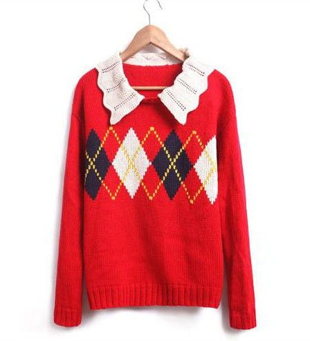 Red Sweater: Red Sweaters, Pattern, Peter Pan Collars, Collars Rhombus, Lapel Collars