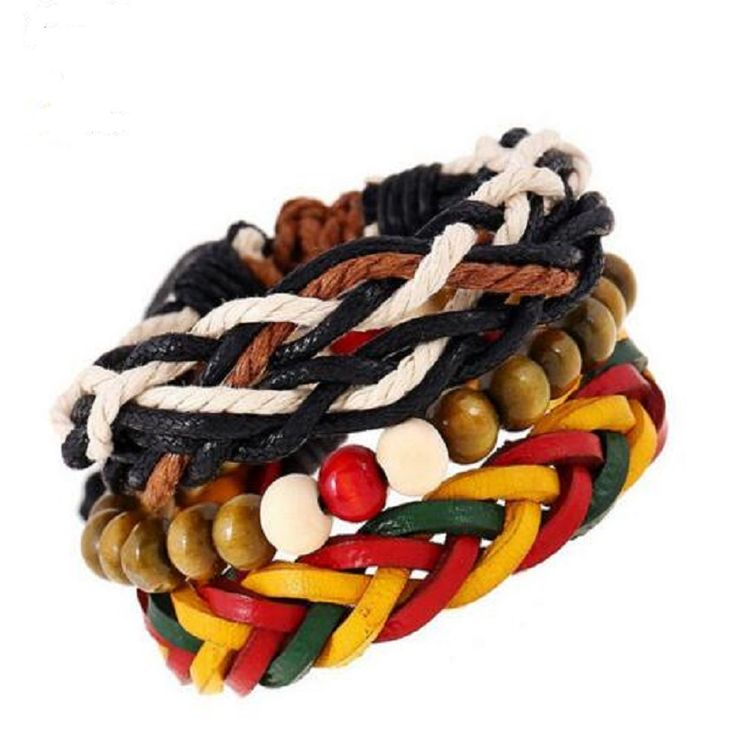 Trendy 3 In 1 Economy wooden beads Bracelets women handmade Jamaican reggae red yellow and green Jewelry for travel souvenir DIY