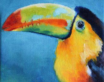 Pintura impresionista tucán, arco iris de color pájaro, colorido arte 6 x 6 pulgadas
