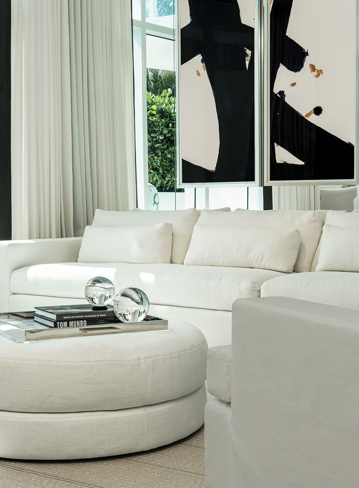 South Beach PentHouse | Michael Dawkins Home  [what can I say...I just love all white...but then I love to see big colourful paintings on the walls !]