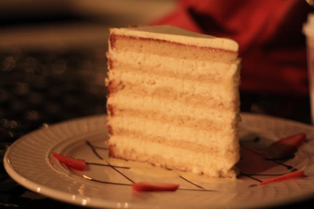 We shared this fabulous piece of coconut cake.Peninsula Grill(located inPlanters Inn)is famous for this cake and it was so good!