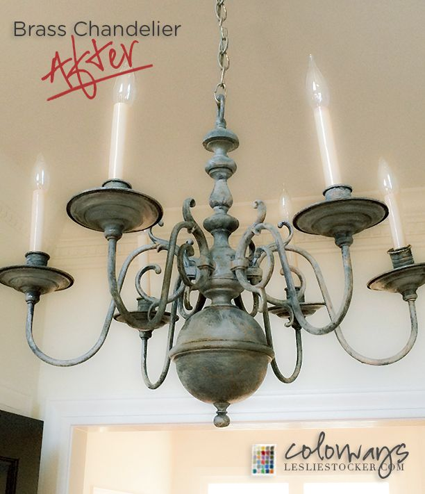 Video #21: Transforming a Brass Chandelier with Chalk Paint and Wax. Part 3 of 3  Colorways  at www.LeslieStocker.com