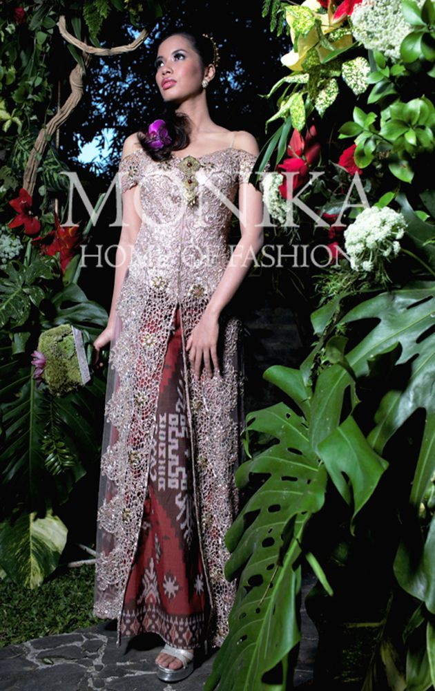 Dusty Pink Sabrina Kebaya with luxury Endek Bali Ikat