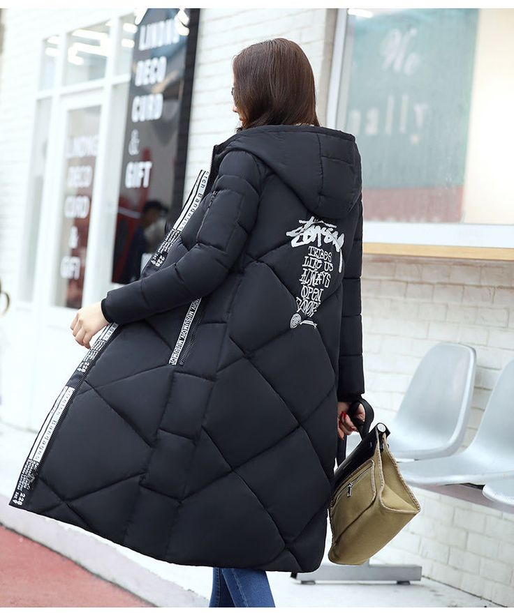 Winter Womens Long Down Cotton Parka Ladies Hooded Coat Quilted Jacket