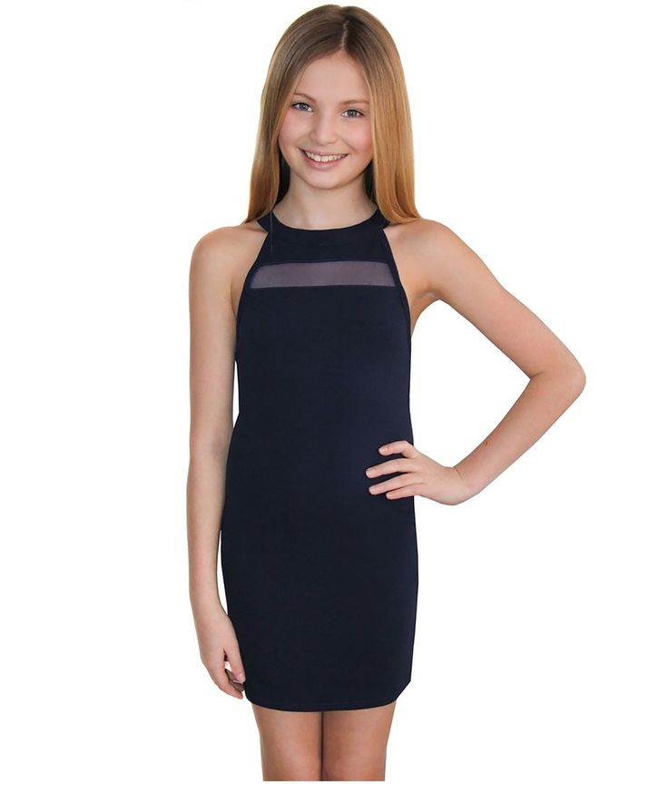 Sally Miller Girls Navy stretch knit bodycon dress with mesh insert on front near neck with gold o-ring zipper on back. Sally Miller Girls dresses are perfect for a special occasion or Bat Mitzvah! 96