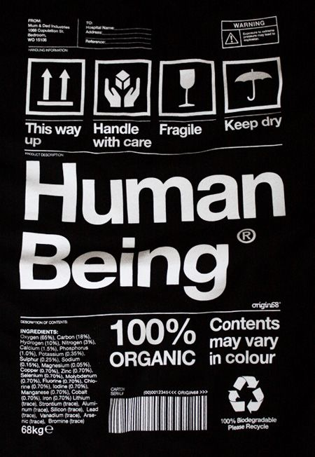 Origin68 - Human Being t-shirt that represents a human in the form of a product label