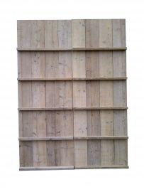 Tijdschriftenwand  Opbergwand voor tijdschriften van steigerhout. Zo houdt u overzicht over uw tijdschriften. Één deel is bxh 80x180cm.