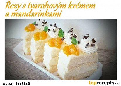 Řezy s tvarohovým krémem a mandarinkami recept - TopRecepty.cz
