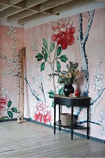 Love this wallpaper which, rather than a repeat pattern is like a mural  that doesn't repeat at all but covers the whole wall like a mural.