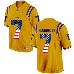 LSU Tigers 7 Leonard Fournette Gold USA Flag College Football Limited Jersey