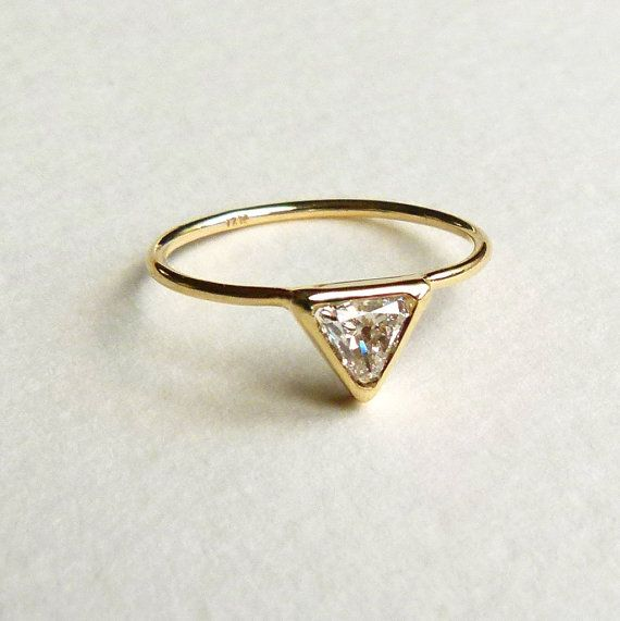 Trillion Diamond Ring  Diamond Engagement Ring  18k by artemer, love this so!!!