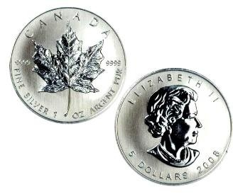 One Ounce Silver Canadian Maple Leaf. The obverse image is the effigy of Queen Elizabeth II, and the reverse is a maple leaf.