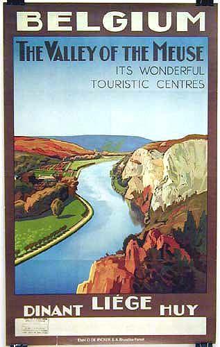 Vintage Travel Poster - Belgique - Vallée de la Meuse - Dinant - Liège - Huy.