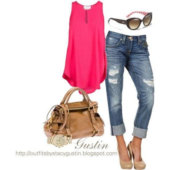Pink and brown: Pink Tops, Jeans, Fashionista Trends, Summer Outfits, Pump, Hot Pink, Nude Heels, Summer Fun, Sweet Fashion
