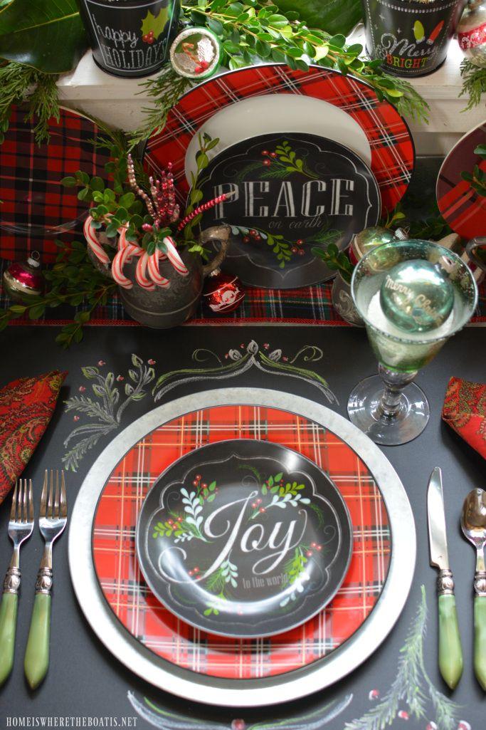 Plaid Tidings Christmas Table and chalkboard runner | homeiswheretheboatis.net #tartan #pottingshed