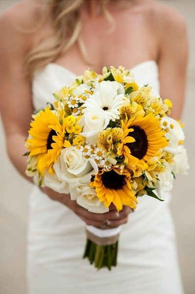 So lovely and elegant sunflowers with white roses, gerber daisies, alstroemeria, monte casino, crespedia, and greens!