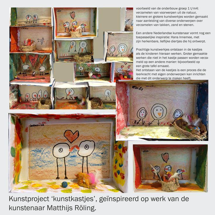 Kunstproject 'kunstenaar in de klas met het als thema 'kunstkastjes', geïnspireerd op werk van de kunstenaar Matthijs Röling. Een project in stand gekomen door samenwerking met Triade Den-Helder, kunst en tekenwerk en de Basisscholen de Marinx en de Boet in 't Veld. Dit is een voorbeeld van de onderbouw groep 3. Verzameling van zand, takken en stenen worden bij alle bouwen verwerkt en verbonden.