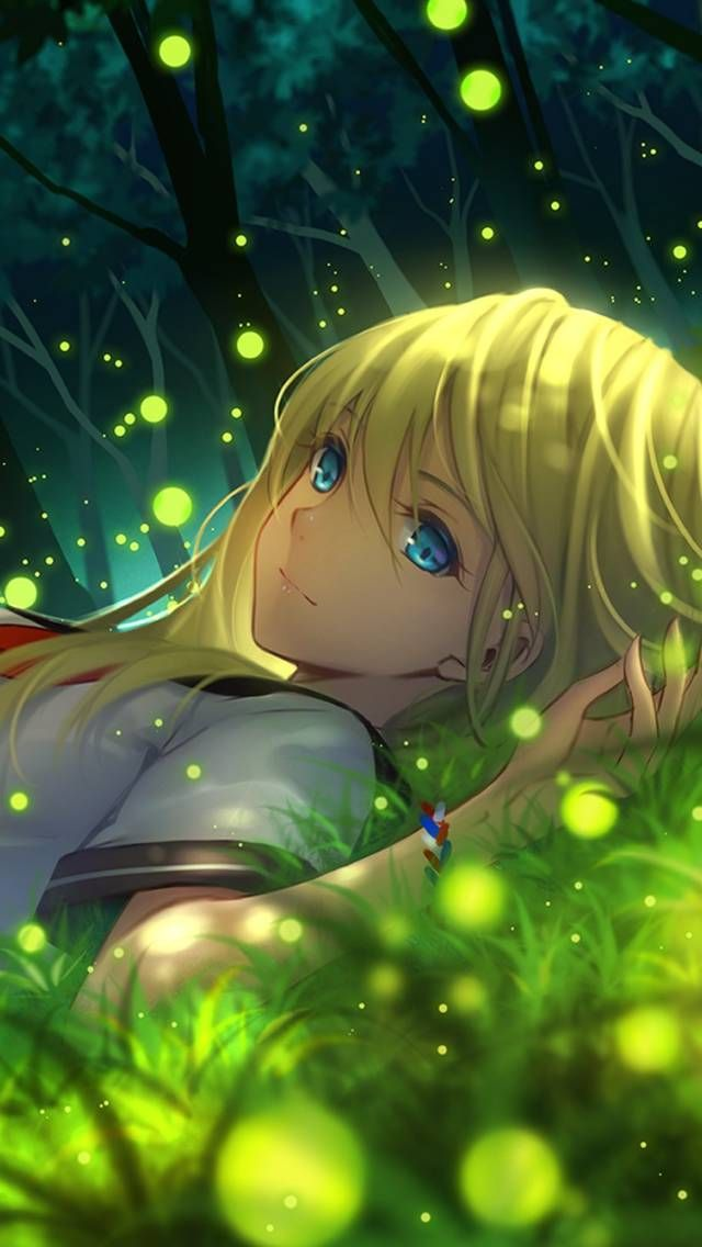 Grass lying anime girl anime manga wallpapers for - Kawaii anime iphone wallpaper ...