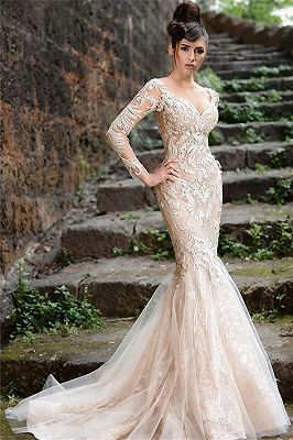 modernes abendkleider spitze langarm  elegante abendmode meerjungfrau  abendkleid braut