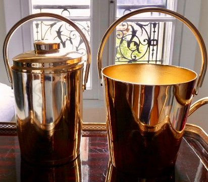 Vintage French 'IMALTA LUXE' brand Rose gold colour Brass plated champagne Bucket & wine cooler set by LeVintageJunky on Etsy