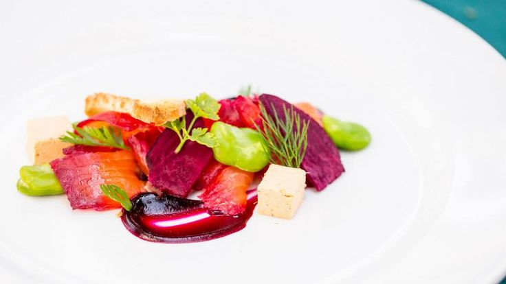 To begin...Beetroot cured salmon with beetroot pudding, tom yum jelly & edimame beans http://www.tenbompas.com/