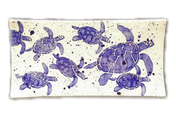 Platter. Sea Turtle. Mommy and with Babies Sea Turtle Rectangular Platter. Sea. Turtle. Blue. Handmade by Sara Hunter Designs.