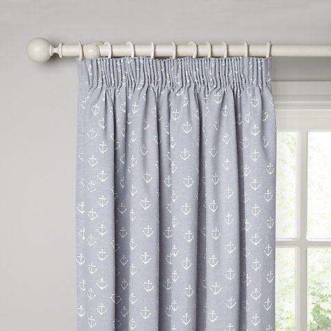 John Lewis Anchors Lined Pencil Pleat Curtains, Pacific Online at johnlewis.com