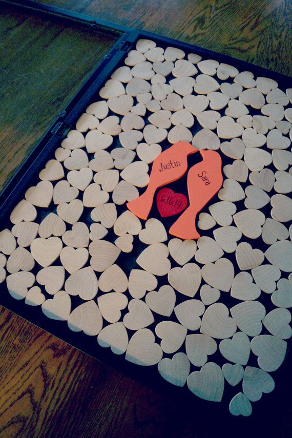 Alternative Wedding Guest Book -Wood Heart Guestbook - Love Bird Wedding - Original Personalized Custom Guestbook on Etsy, $160.00