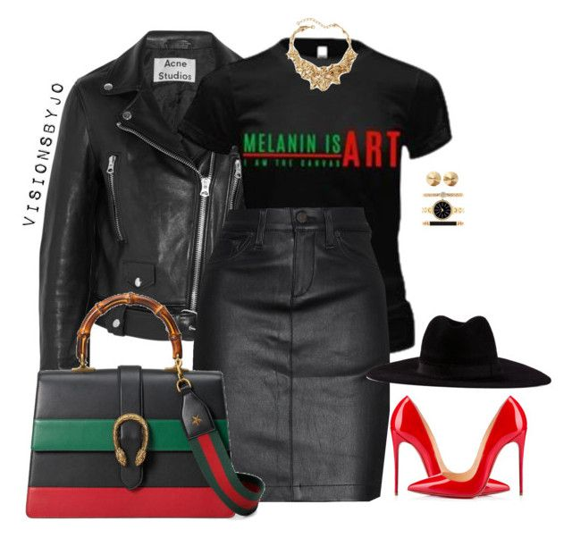 """Untitled #1485"" by visionsbyjo on Polyvore featuring Acne Studios, rag & bone/JEAN, Filù Hats, Gucci, Christian Louboutin, Oscar de la Renta, Eddie Borgo, Style & Co., women's clothing and women"