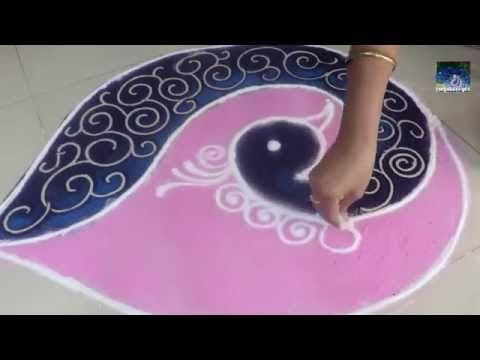 Beautiful Peacock Rangoli /Peacock Kolam / Peacock Muggulu By Rangolidesigns - YouTube