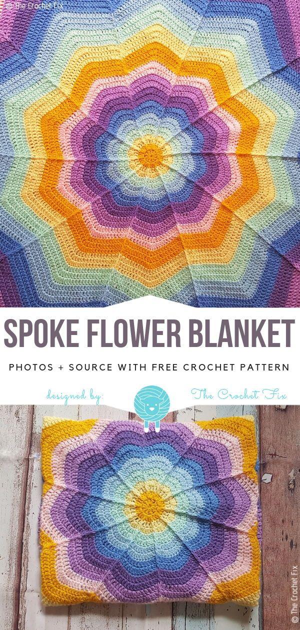 Falou Cobertor Flor Livre Padrão De Crochet