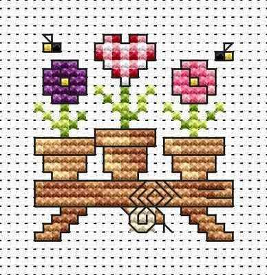 Flower Shelf cross stitch card kit by Fat Cat Cross Stitch.  Design 4.1cm x 4.3cm14 count white Aida The kit contains fabric, stranded Anchor embroidery threads, needle, easy to follow instructions and chart, card and envelope.  A brand new kit will be sent directly to you by Fat Cat Cross Stitch - usually within 2-4 working days © Fat Cat Cross Stitch