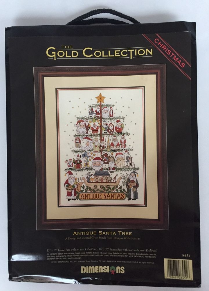 Dimensions Gold Collection Antique Santa Tree Kit Sealed ...