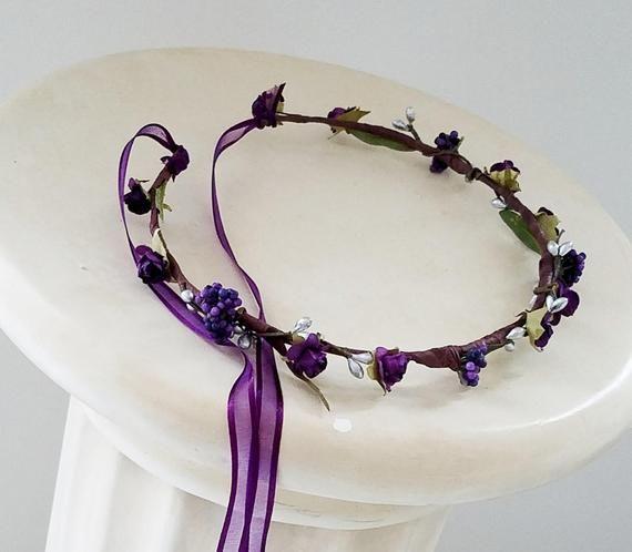 Purple Bridal Flower crown Gothic headdress Silver gift for her hair wreath Fairy halo free shipping hair wreath winter wedding headpiece