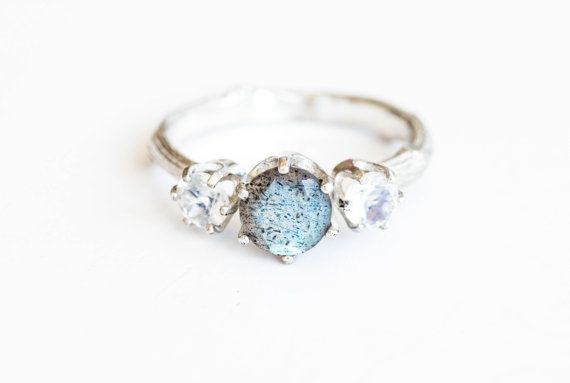 Labradorite moonstone three stone engagement ring by Oore on Etsy