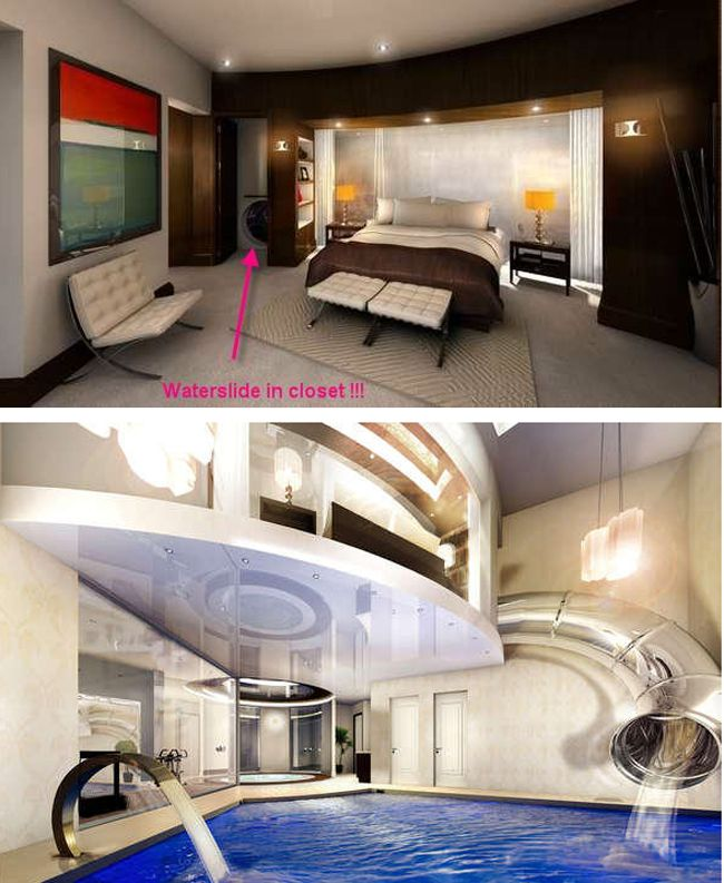 WHAT?! This ultra secret bedroom closet contains the top of a water slide that leads to a luxurious indoor pool.