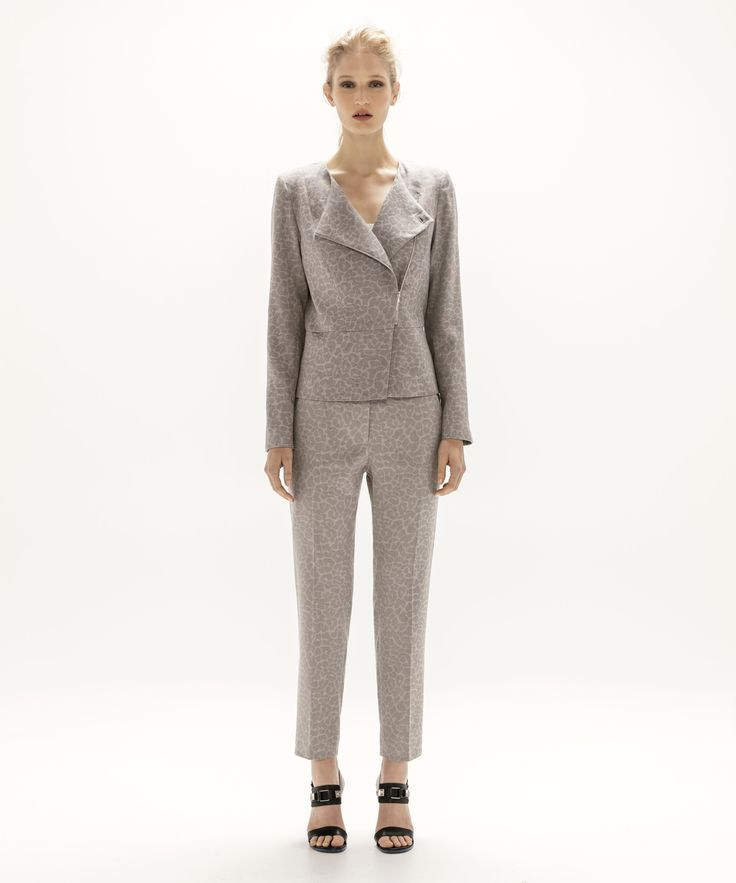 Asymmetric Jacket - Grey and Cropped Trouser - Grey