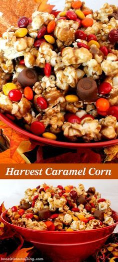 Harvest Caramel Corn - a fun Fall treat. Sweet and salty popcorn covered in delicious caramel - so delicious and so easy to make.  It would be a great Thanksgiving Party Food or a Fall movie night dessert!