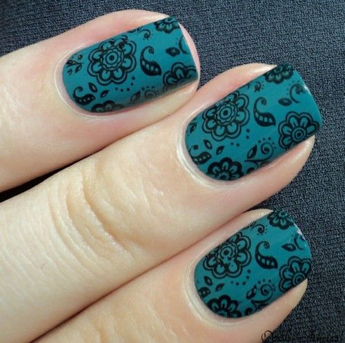 konad stamping nail art - I love this color combination!  https://www.facebook.com/konadnailartsystem?ref=hl