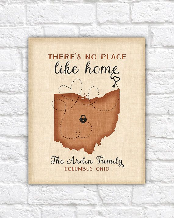 There is no place like home - Custom map art, Personalized gifts, Unique Housewarming Gift for Friends, Family, Love Lock, Ohio State Map