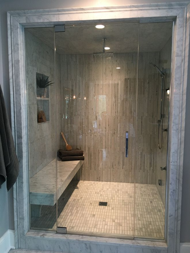 the shower is 5 ft wide and 6 ft deep it is a steam shower with a rain shower head body sprays and a hand held shower
