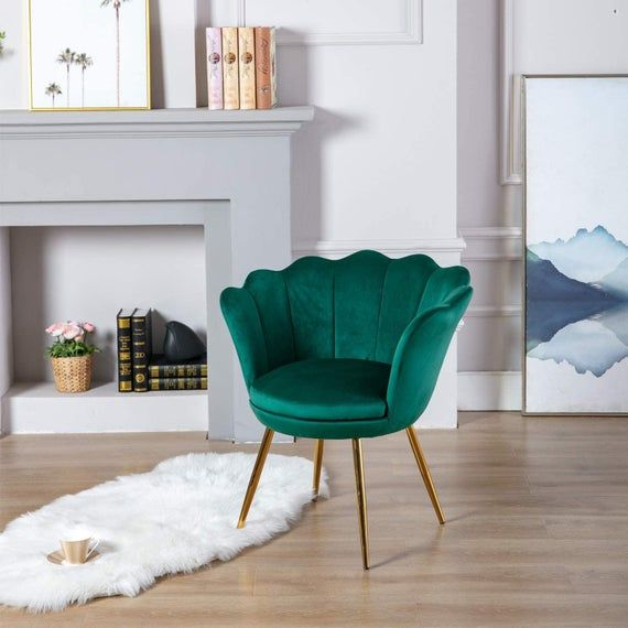 Modern Green Velvet Accent Armchair Chair With Gold Plated Etsy In 2021 Home Living Room Loft Decor Velvet Dining Chairs