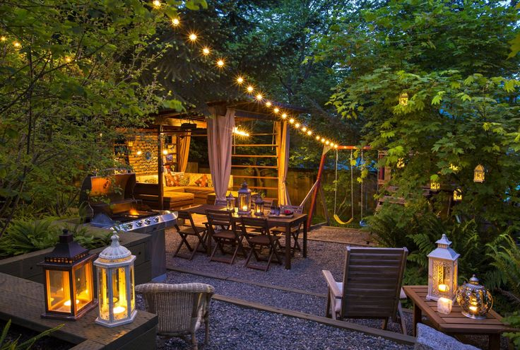 Small City Backyard Garden : Jacqueline Ryan?s backyard garden glows in the evening with strings