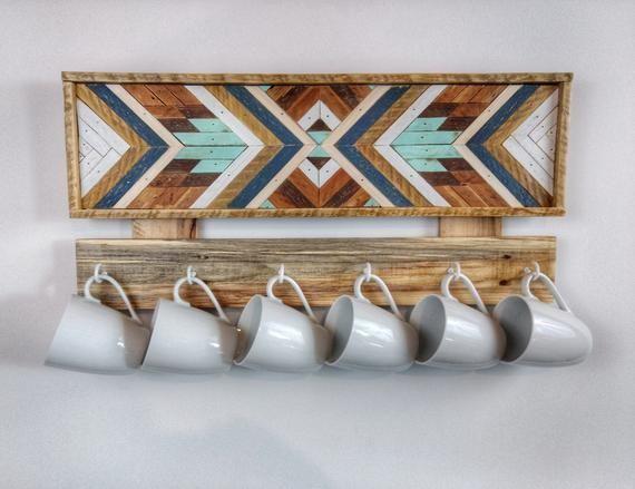 Kaldi - mug rack. modern. coffee bar. angled art mug rack coffee lover. coffee mug hanger. wood wall