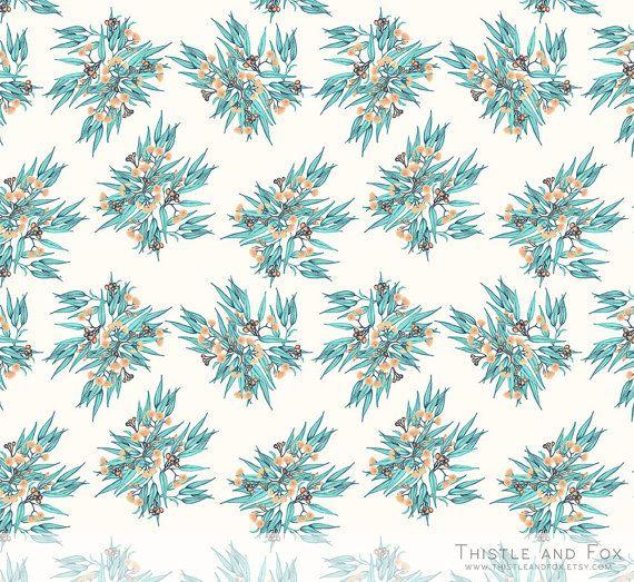 Gumnuts and Eucalyptus Australian Cream Mint Botanical Custom Printed Cotton Fabric 1 yard