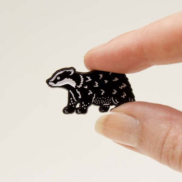 Darwin Designs Badger Pin (£8) ❤ liked on Polyvore featuring jewelry, brooches, pin brooch, pin jewelry and black and white jewelry