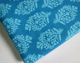 1 yard India Cotton Fabric/Natural Vegetable Dyes for Dresses,Curtain Turquoise blue Jaipur Hand block Sanganeri Printed