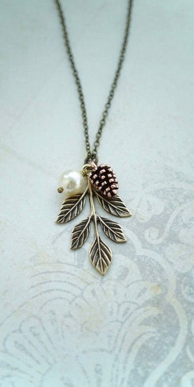 Pinecone Pearl Oak Leaf Necklace. Pearl Rustic Nature Jewelry. Bridesmaids Gifts. Leaf Pinecone Oak Leaf Necklace by Marolsha - https://www.etsy.com/listing/268030565/pinecone-pearl-oak-leaf-necklace-pearl?ref=shop_home_active_11