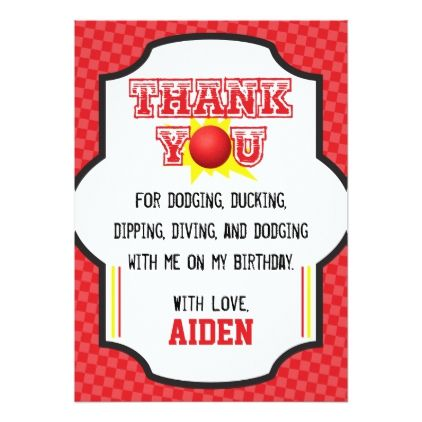 Dodgeball Birthday Thank You Card | Sports - birthday invitations diy customize personalize card party gift